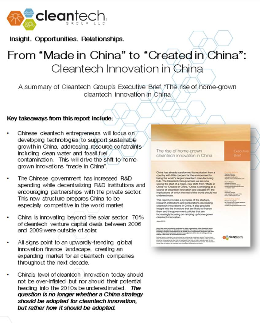 Cleantech Group Innovation in China Summary Report